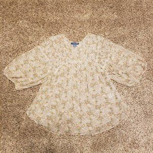 Anthropologie Dil Paisley Pleated Blouse
